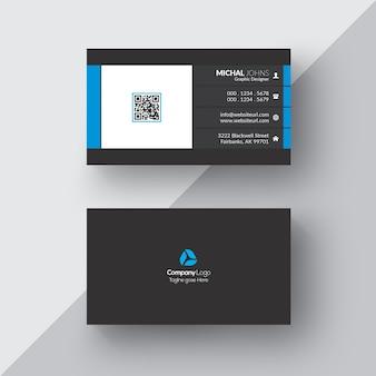 Carte de visite noire avec détails blancs et bleus
