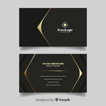 Carte de visite noire et dorée avec logo