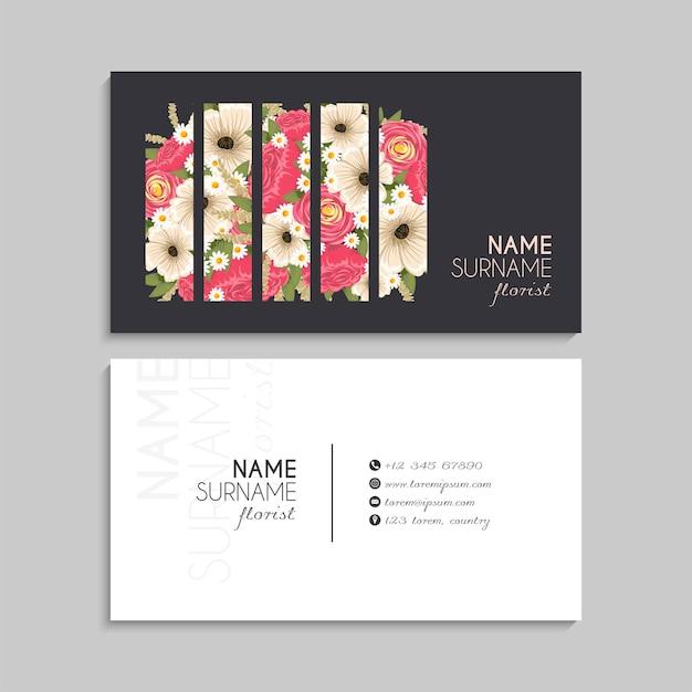 Carte de visite noire avec des fleurs roses