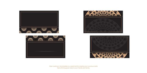 Carte de visite noire avec motif de luxe marron