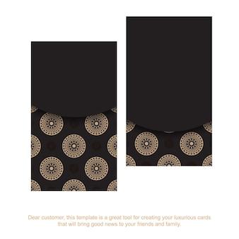 Carte de visite noire avec ornement de mandala marron