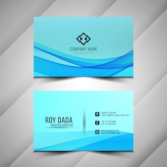 Carte de visite ondulée bleue élégante abstraite