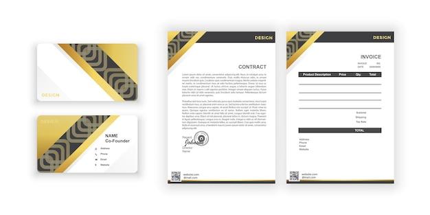 Carte de visite en or et blancs design coloré simplemodèle de conception de document pour entreprise de bureau