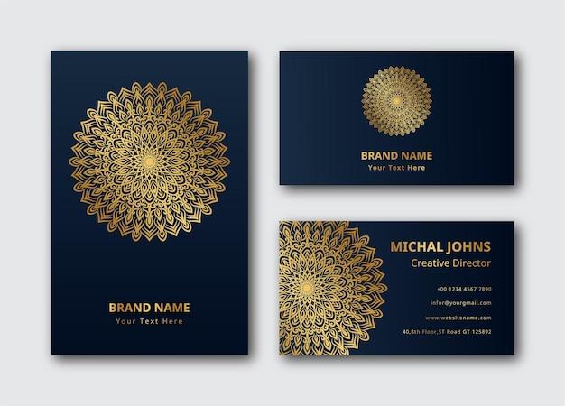 Carte de visite en or avec eps de mandala de fleurs