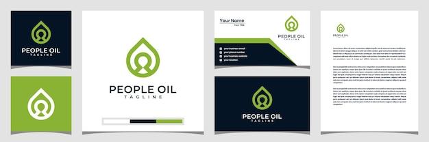 Carte de visite et papier à en-tête de logo de modèles de logo d'huile de personnes créatives