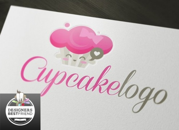 Carte de visite de petit gâteau de logo rose