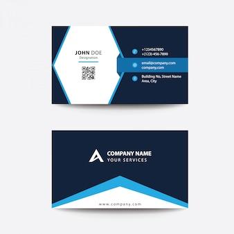 Carte de visite pour entreprise professionnelle au design plat et bleu