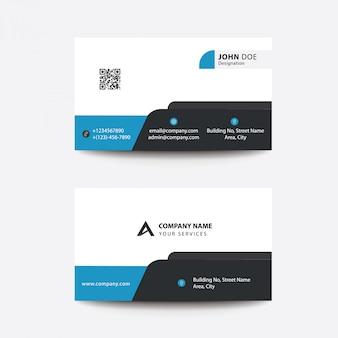 Carte de visite pour entreprise professionnelle au design plat uni bleu