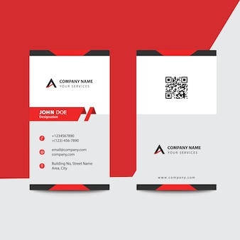 Carte de visite pour entreprise professionnelle de style minimaliste noir et rouge
