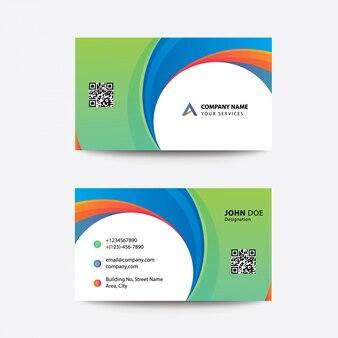 Carte de visite pour entreprises à deux couleurs clean flat premium, style minimal et multi