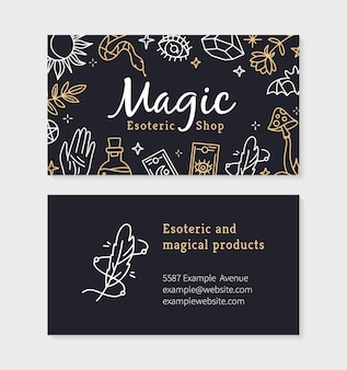 Une carte de visite pour un magasin de magie et de sorcellerie avec des objets ésotériques