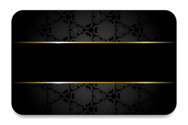 Carte de visite premium en noir avec éléments et ornements dorés carte vip business noire