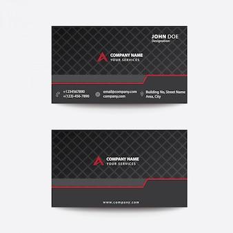 Carte de visite professionnelle de l'entreprise, style plat minimal, noir et rouge, clean flat