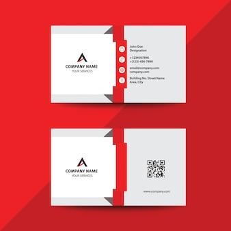 Carte de visite professionnelle de visite d'entreprise rouge de conception plate épurée