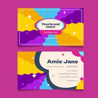Carte de visite psychédélique groovy colorée dessinée à la main