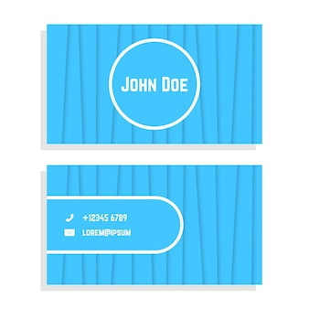 Carte de visite à rayures bleues. concept de cérémonie pragmatique, flyer, identité visuelle, carte de visite. isolé sur fond blanc. illustration vectorielle de style plat tendance logo moderne design