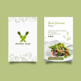 Carte de visite recto-verso des aliments sains