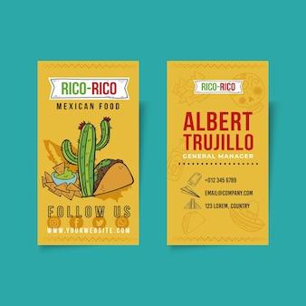 Carte de visite recto-verso de cuisine mexicaine