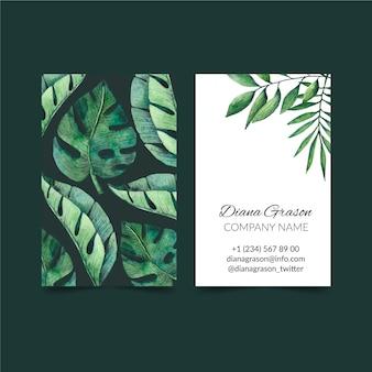 Carte de visite recto-verso de nature tropicale avec des feuilles exotiques