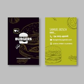 Carte de visite recto-verso de restaurant de hamburgers