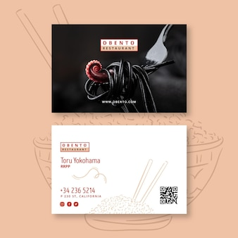 Carte de visite recto-verso de restaurant japonais