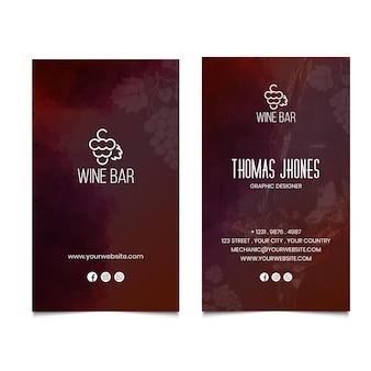 Carte de visite recto-verso de vin