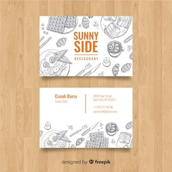 Carte de visite de restaurant dessiné à la main