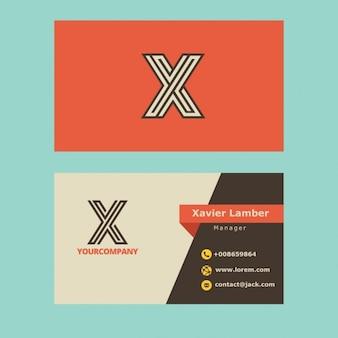 Carte de visite rétro avec x lettre