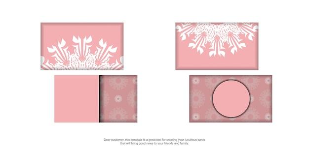Carte de visite en rose avec motif indien blanc pour votre entreprise.