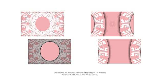 Carte de visite rose avec motif indien blanc pour votre personnalité.