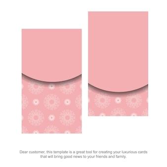 Carte de visite rose avec ornement blanc abstrait pour votre personnalité.