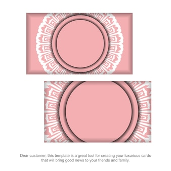 Carte de visite rose avec des ornements blancs antiques pour vos contacts.