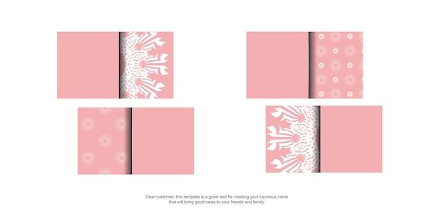 Carte de visite rose avec des ornements blancs indiens pour votre entreprise.