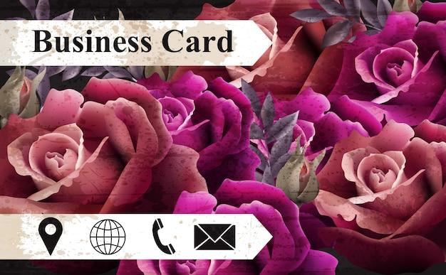 Carte de visite avec des roses réalistes colorées