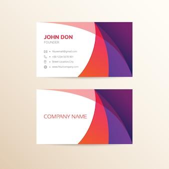 Carte de visite rouge et violet