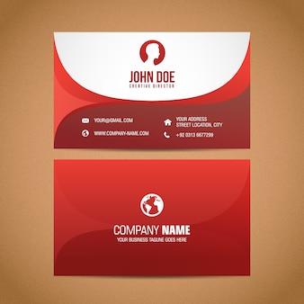 Carte De Visite Rouge Vecteur Premium