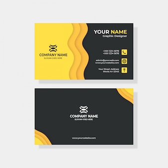 Carte de visite simple noir et jaune avec logo et icône pour votre entreprise