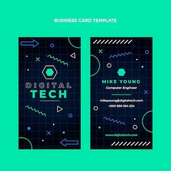 Carte de visite à technologie minimale design plat verticale