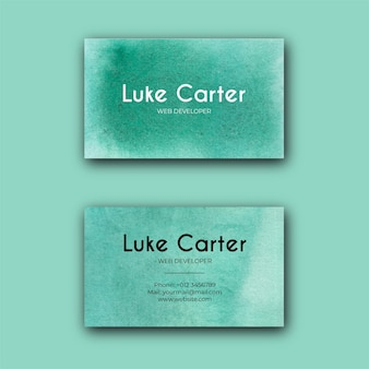 Carte de visite de texture aquarelle verte abstraite