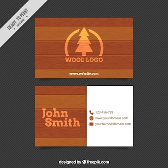 Carte de visite de la texture du bois