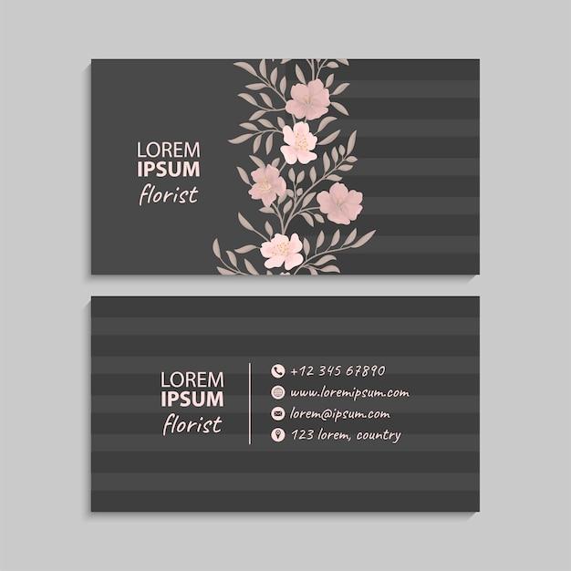 Carte de visite avec thème floral.