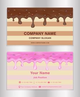 Carte de visite de thème de glaçage de chocolat et de beignet