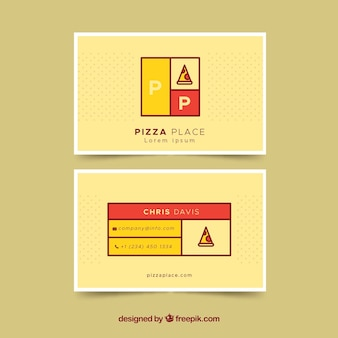 Carte de visite avec une tranche de pizza