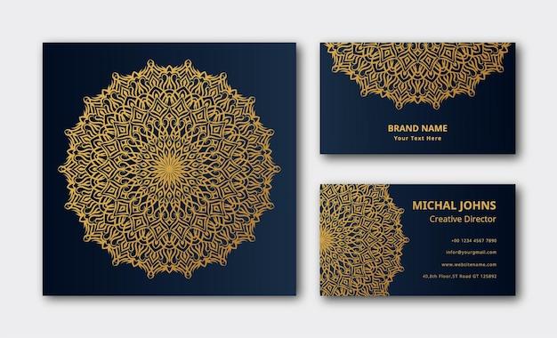 Carte de visite vecteur premium de soins de mandala en tissu arabesque