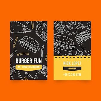 Carte de visite de vente de hamburgers
