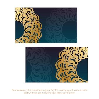 Carte de visite verte dégradée avec ornements grecs en or pour vos contacts.
