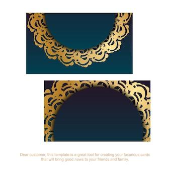 Carte de visite verte dégradée avec des ornements grecs en or pour votre personnalité.