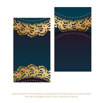 Carte de visite verte dégradée avec ornements indiens en or pour vos contacts.