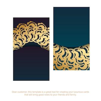 Carte de visite verte dégradée avec des ornements indiens en or pour votre entreprise.