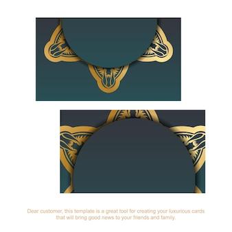 Carte de visite verte dégradée avec des ornements luxueux en or pour votre entreprise.